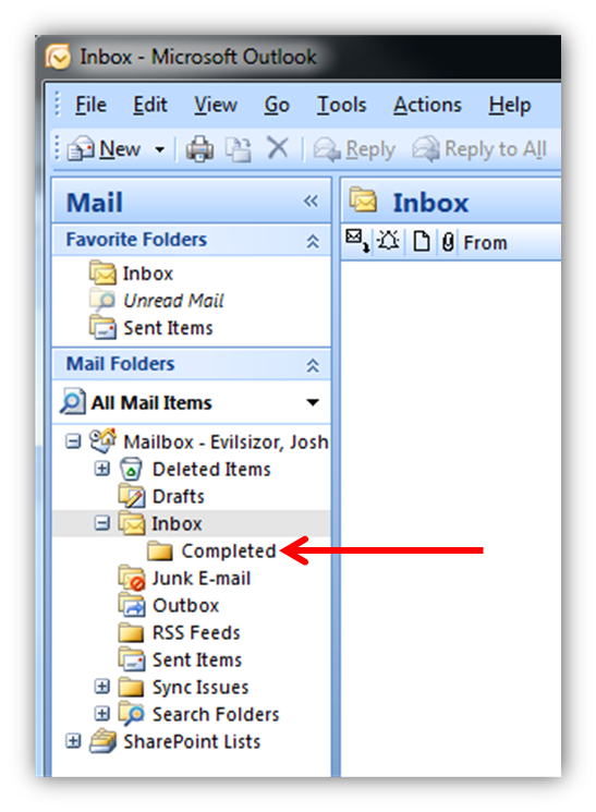Inbox Completed Folder Outlook